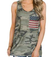 Summer Women Casual Sleeveless Camouflage T Shirt Country Flag Clothing Loose Fit Camo Tank Top