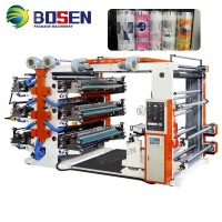 2 4 6 COLOR NON WOVEN ROLL TO ROLL FLEXO PRINTER FOR NONWOVEN PP PE PLASTIC FILM FLEXOGRAPIC PRINTING MACHINE SALE PRICE