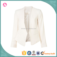 Office lady off white plain formal fancy shorts blazer coat designs