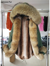 Women Real Raccoon Fur Hooded Long Parka With Faux Fur Lined Jacket Parker Outdoor Overcoat Winter For Ladies