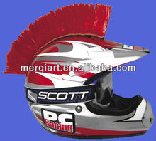 Hot selling red motorbike helmet hairy mohawk wig for autobiker promotional events