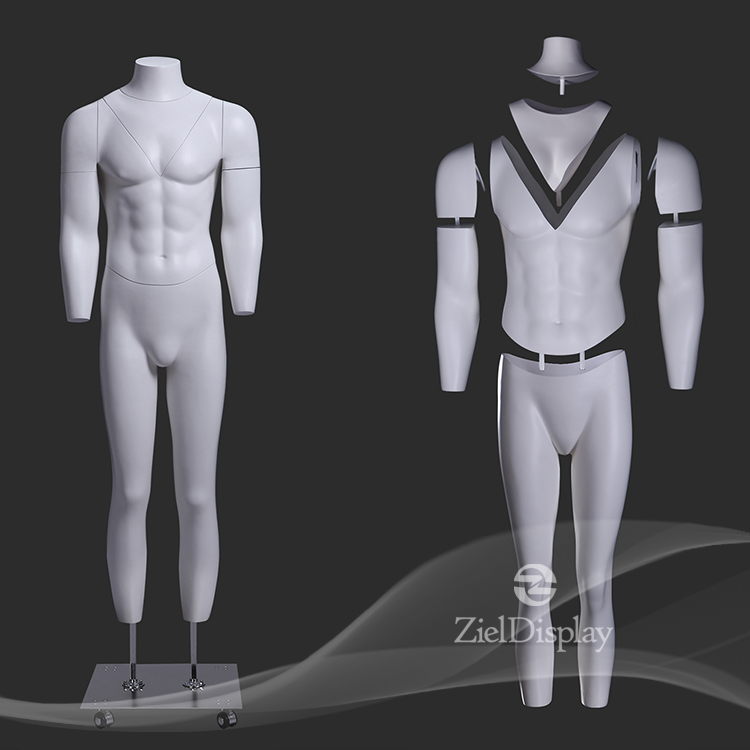 New White Fiberglass Removable Parts Turntable Magnetic Male Ghost Mannequin For Photostudio
