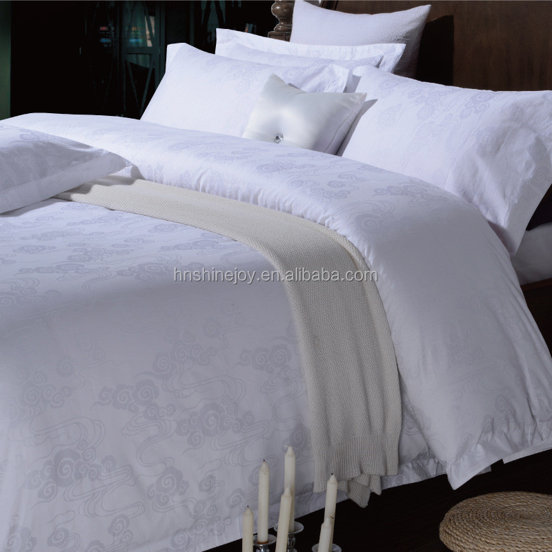 Value 300TC 80% cotton 20% polyester white King hotel bed linen jacquard