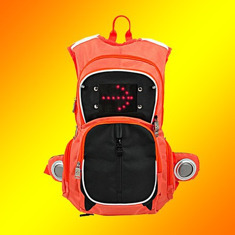 stylist convenient light cycling bag LED turn signal backpack with wireless remote control function