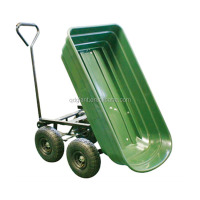 Dump plastic garden wagon with four wheels