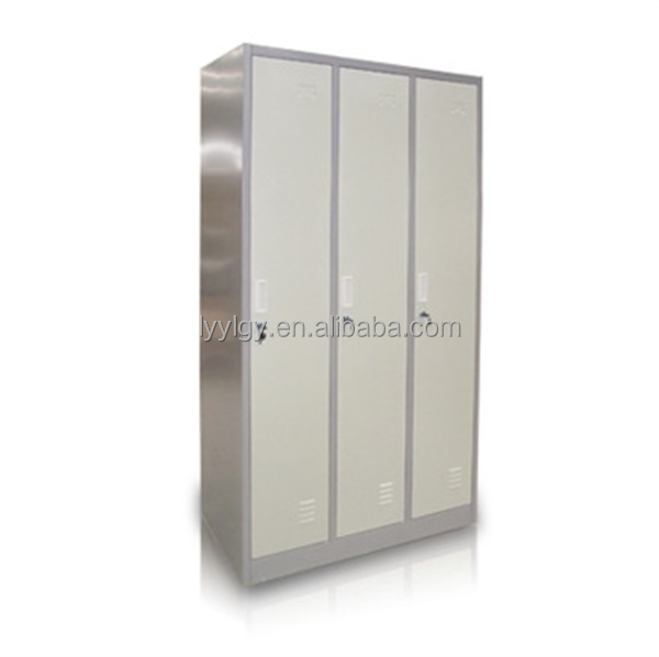 Knock down large 3 doors metal almirah steel hostel armoire