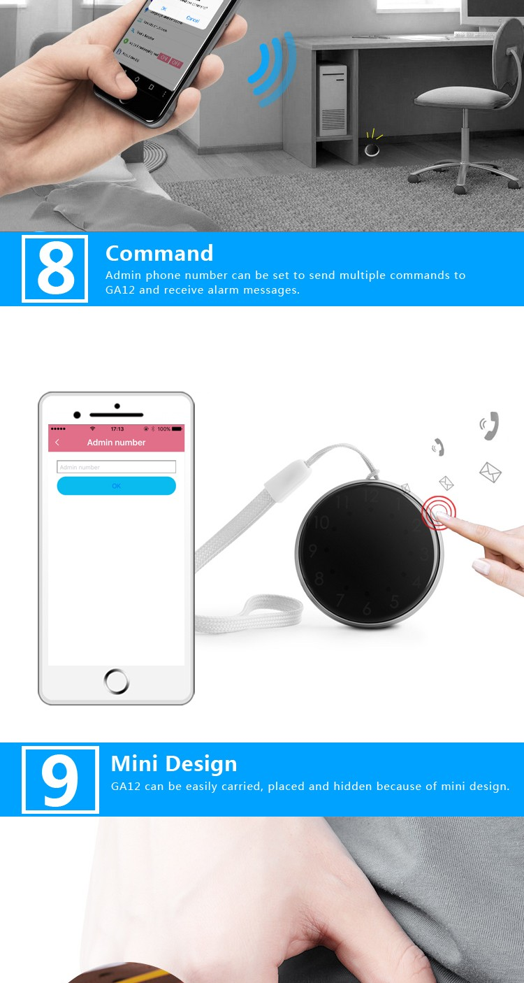 Mini Personal GPS Tracker GA12 Coin Size Free GPS Tracking Software APP