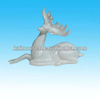 hotsale white ceramic lying deer high end christmas decorations
