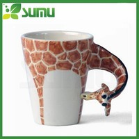 Giraffe 3D design hot sale ceramic mug cup