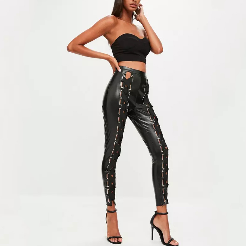 outdoor new fashion long black faux leather eyelet lace up trousers pants