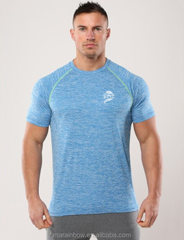 Mens Heather Spandex Polyester Dry Fit T Shirt OEM Raglan Short Sleeve Sport Shirt Bulk Wholesale Gym Fitness Clothing
