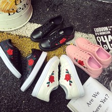 Cheap Flower Embroidery Latest Design Casual Shoes Women Elegant White Shoes