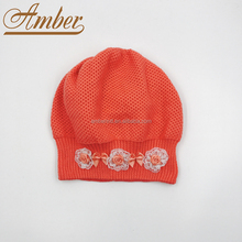 Children Winter Hat Knitted Beret Cap Hat Beanie Mesh Jacquard Hat with Flowers Deco