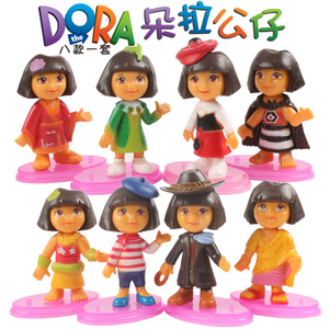(Cake Toppers)8pcs sets Dora the explorer action figure kid display figurines Collection Mini Figures Cute Kid gift