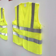 High visibility Fluorescent yellow green reflective safety vest factory at quzhou zhejiang province china