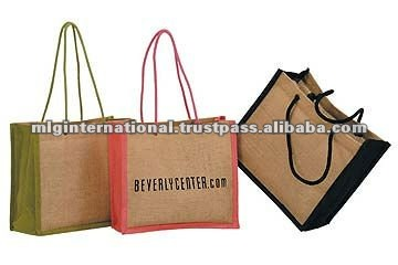 Jute Bags with cord handle and black gusset with print