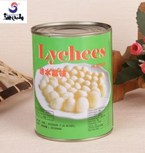 Healthy food organic canned lychee in heavy syrup