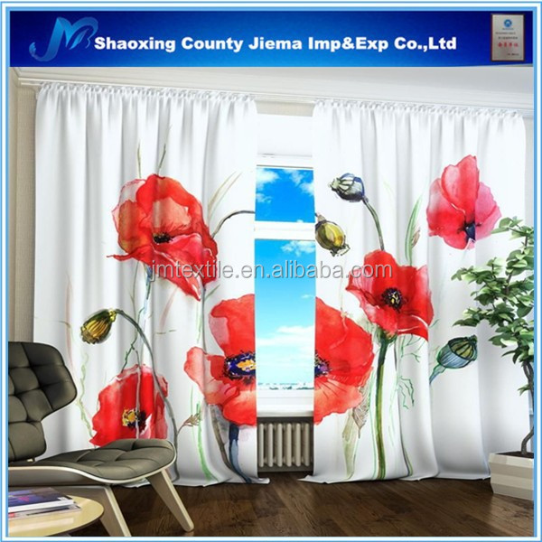3DP CUR072 High Quality Curtain 100%Polyester Fabric Printed Voile Free Sample 3D curtain fabric wholesale