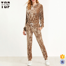 Brown crushed velvet suits designs custom wholesale new design track suit women