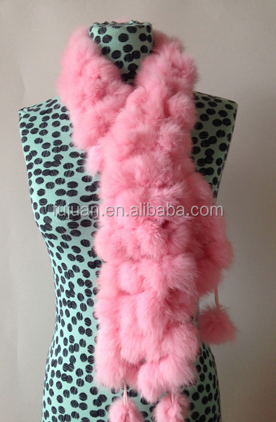 Fashion nice rabbit fur scarf 4 lines balls fur collar scarf for women scarf