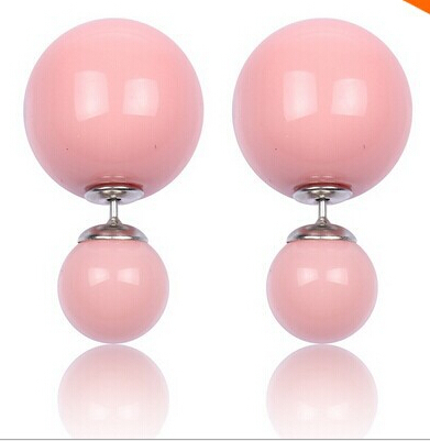 Hot Selling Fashion Jelly Candy Ball Two Sided Double Imitation Pearl Stud Earrings