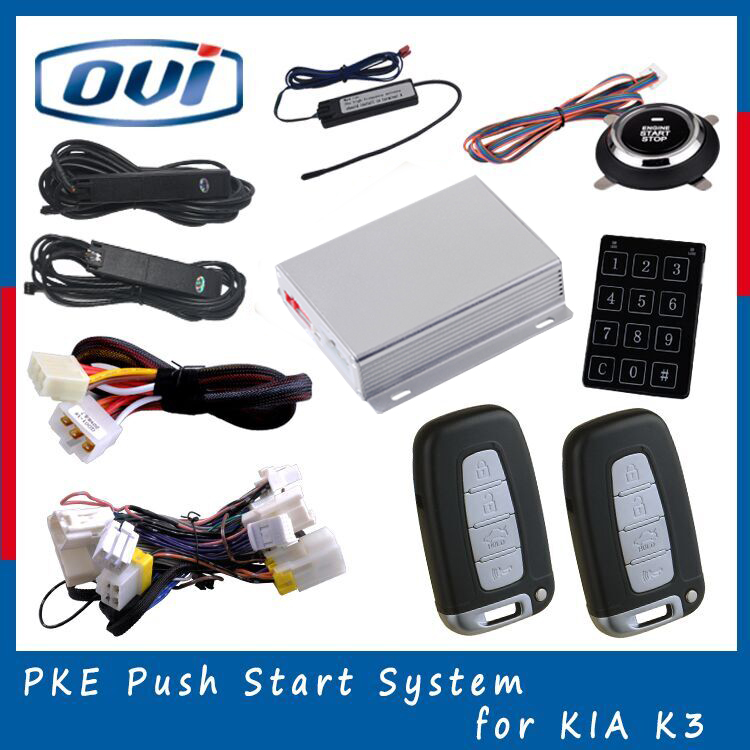 2016 OVI Fully functional OBD easy installation smart key CAN BUS push button start passive keyless entry PKE car alarm system