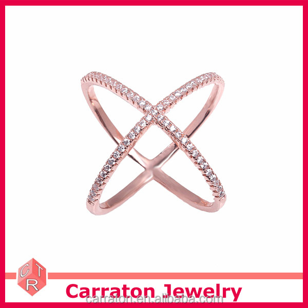hot sale jewelry rose gold plated 925 sterling silver white zircon X cross ring