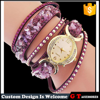 Wholesale Mulitlayer Leather Band Rivets Gravel Crystal Quartz Watches For Women