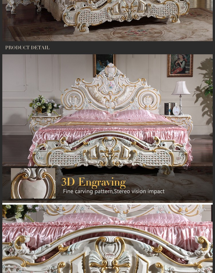 2016 The most popular Europe style rubber furniture, luxury upholstered solid wood carving genuine leather bed