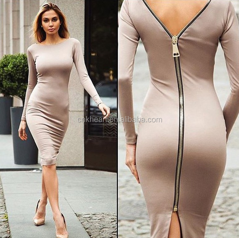 New Women Zipper Bodycon Night Club Clubwear Party Cocktail Knitting Dress