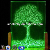 3D Laser Tree Acrylic LED Display With Wooden Base