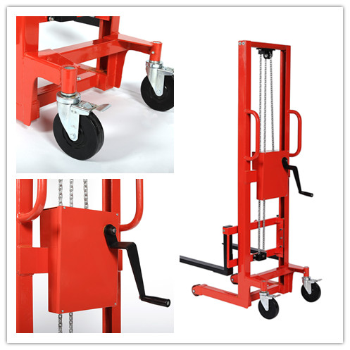 350kg capacity manual stacker wholesale with 1.4m lifting height