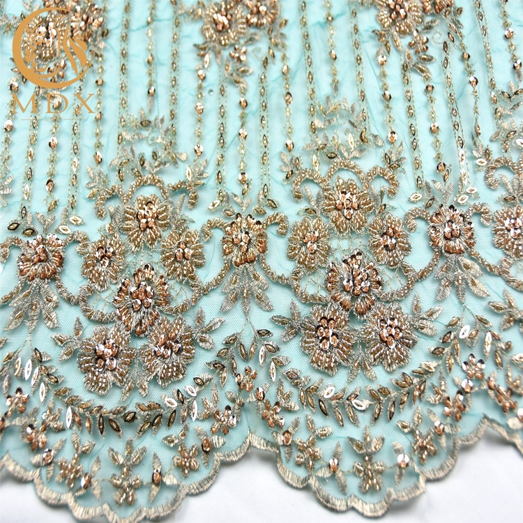 Latest Couture Embroidery Designs Beaded Lace/Heavy Beaded Embroidery Lace/3D Beaded French Lace for Bridal