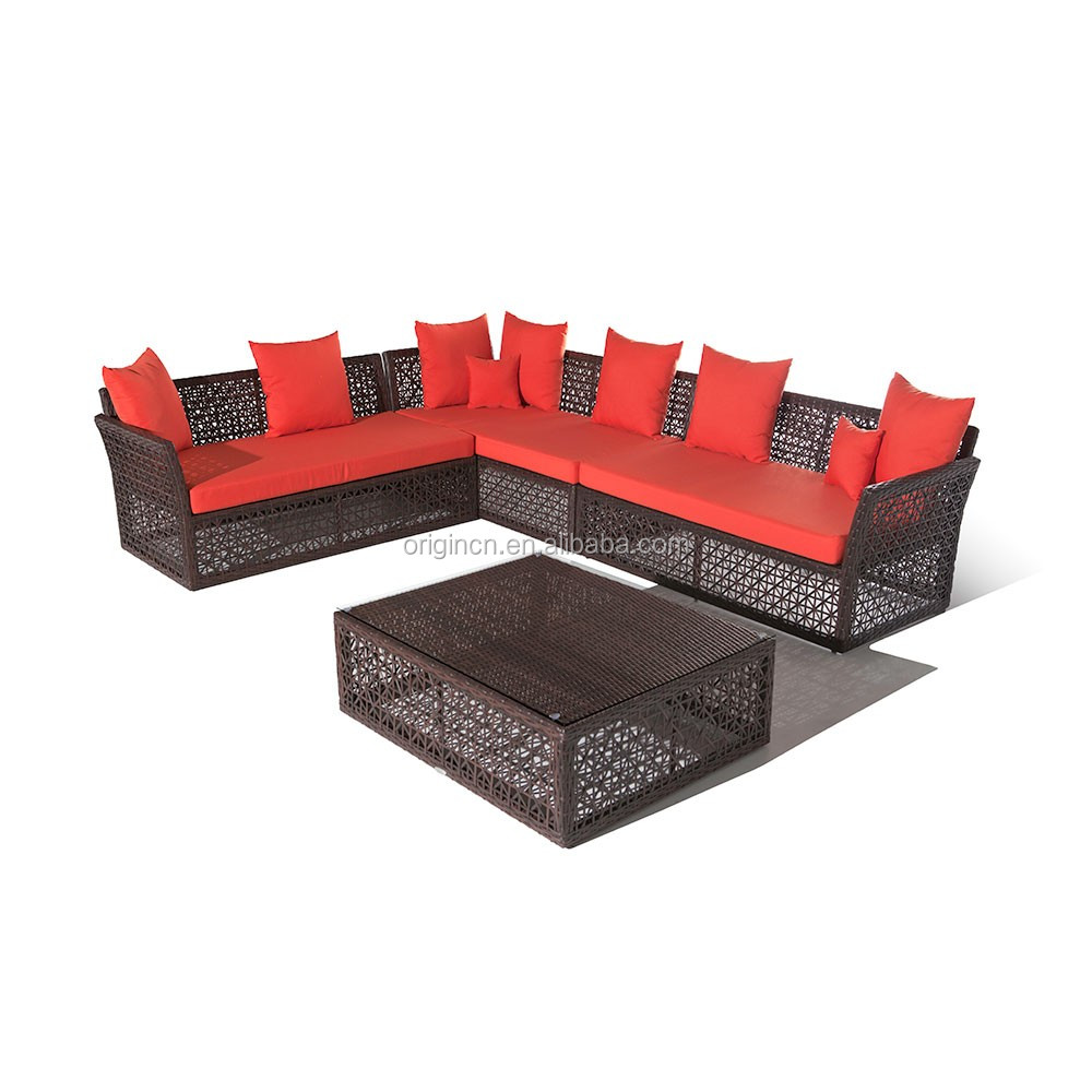 088 Divan designed asian style patio rattan sofa with hollow out woven and low table outdoor furniture wholesale