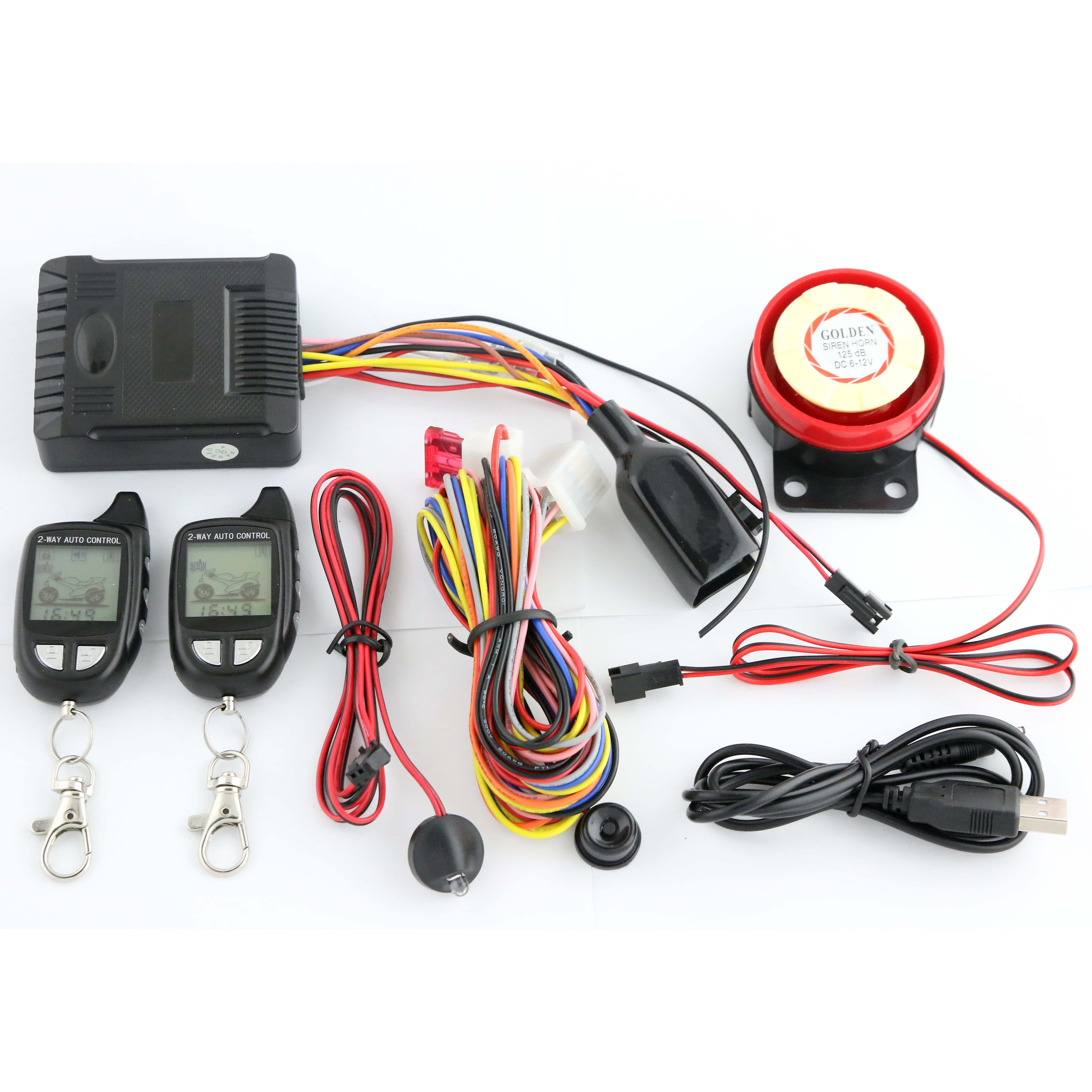 HUATAI 2 way 1500 meters motorcycle alarm with remote start <strong>shock</strong> warning <strong>HT</strong>-M09F2