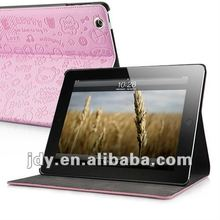 PU Leather Folio Stand Case Embossed With Cute Cartoon For The new iPad/iPad 2 - Pink