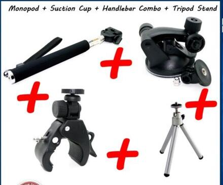 Ski Pole + Suction Cup + Handlebar + Stand For Toshiba Camileo X Suction Cup for Sports Camera