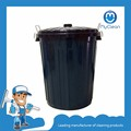Black Plastic Outdoor Can Trash Receptacle