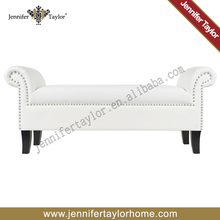 Bedroom upholstery fabric bed end ottoman bench seat