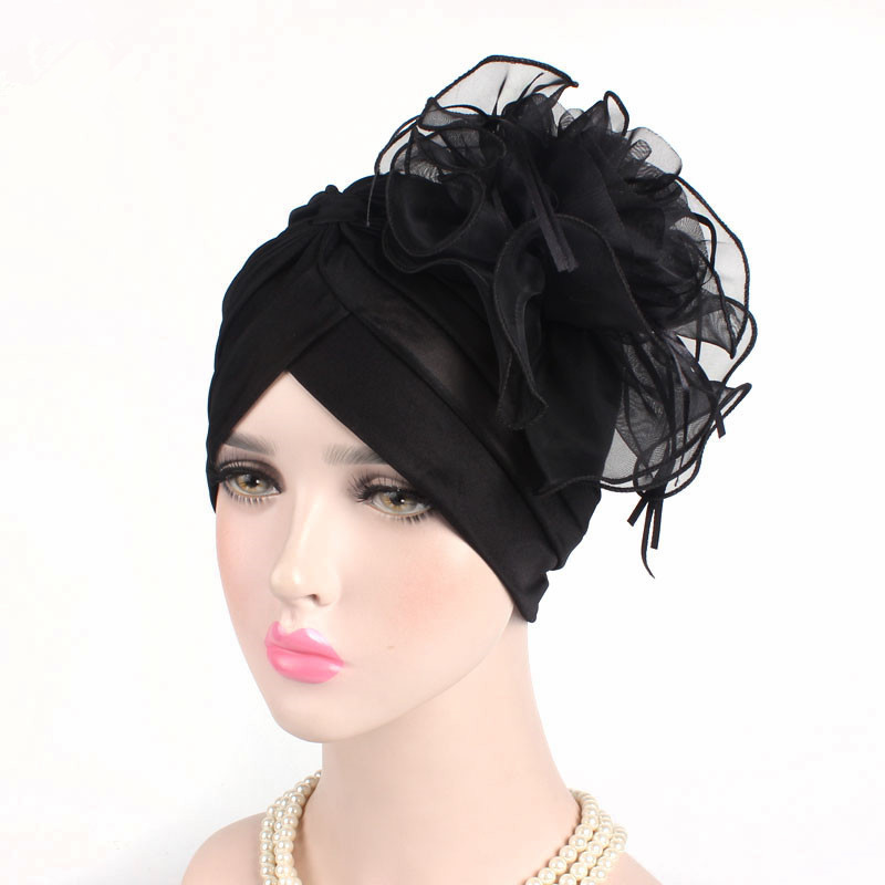 Fascinators Hats Womens ruffle turban  strong Headwear  strong  with big  poplin f06137e354a1
