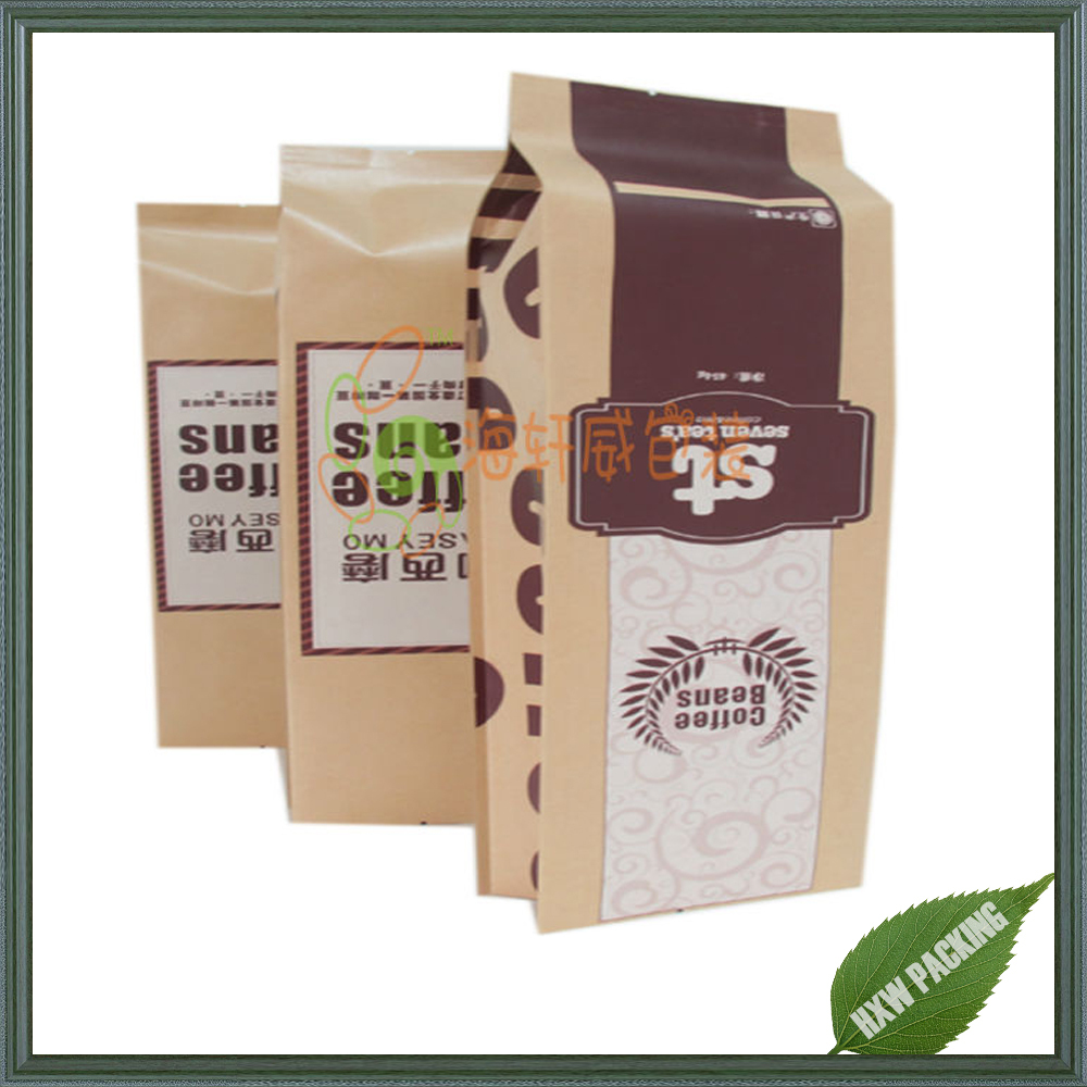 2016 Hot selling custom printing brown kraft coffee tea bags with tear notch