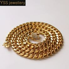 Wholesale Fashion Jewelry Crystal White yellow cuban diamond necklace,CZ cuban link chain 10mm