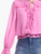 Women Fashionable Long Sleeve Pink Blouse With Ruffles