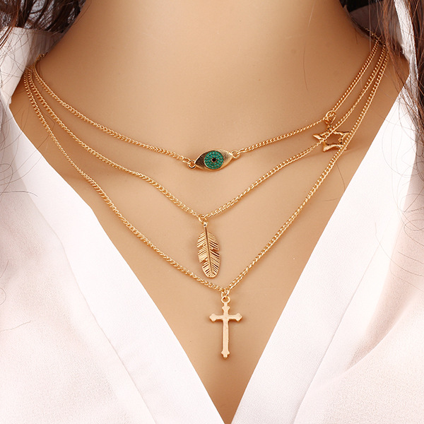 New products 2016 Fashion <strong>Jewelry</strong> , 18k plated cross pendnat infinity necklace for women N00022