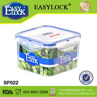 food grade pp attached-lid storage plastic container with 4-side lock