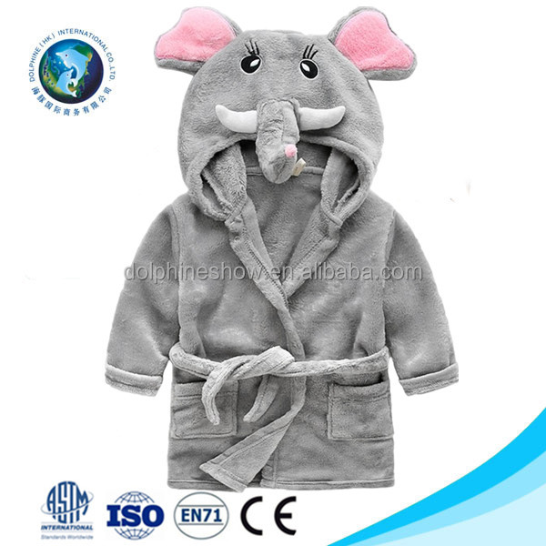 Grey elephant bamboo hooded baby bath towel 2017 Wholesale cheap cartoon animal baby bathrobe