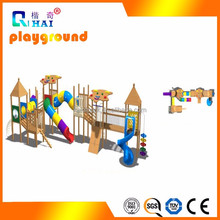 Children wooden outdoor playground big slides cheap plastic slides and swings for sale