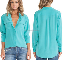 ladies blouses SLIM VINTAGE WASH BLOUSE Front button closures ladies blouses