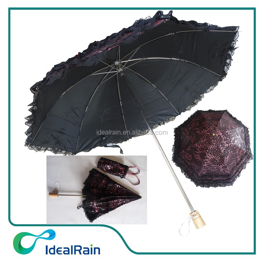 19 inches 2 fold black lace parasol umbrella