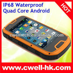 Quad Core waterproof Android phone 4.2 Dual SIM Card 4.3 Inch Gorilla Glass 1GB RAM 8.0MP Camera IP68 ALPS S09